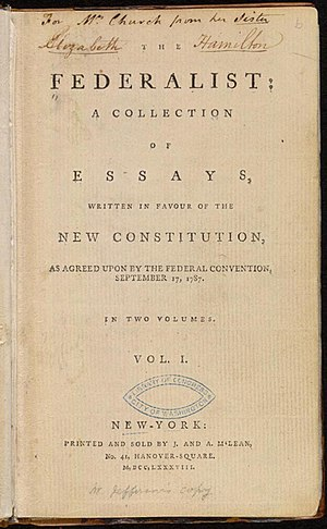 The Federalist Papers - Title page of the first collection of The Federalist (1788)