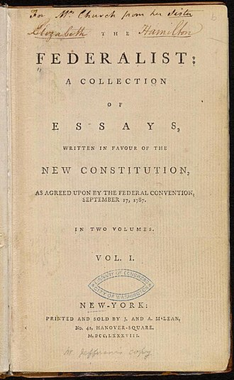 The Federalist Papers - Image: The Federalist (1st ed, 1788, vol I, title page) 02