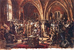 Sejm of the Kingdom of Poland - The First Sejm (held at Łęczyca). Painting by Jan Matejko.