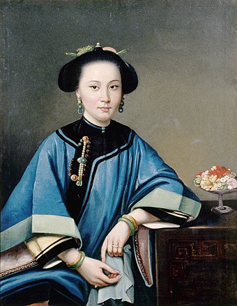 Portrait of a concubine, by Chinese painter Lam Qua, 1864 The Fourth Concubine of Hexing.jpg