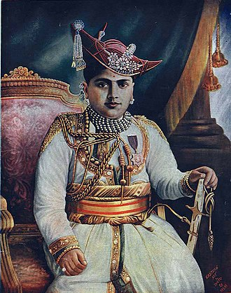 Jiwajirao Scindia - The Maharaja of Gwalior: a hand-coloured photograph, c.1930's