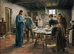 Contemporary fantasy -  Fritz von Uhde's late 19th Century series of paintings, depicting Jesus Christ appearing in the homes of realistically-drawn working class German families of the painter's time, can be considered a kind of pictorial contemporary fantasy.