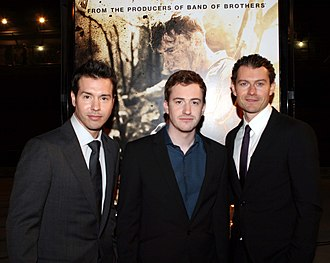 Jon Seda - Seda (left) with Joseph Mazzello and James Badge Dale at a screening for The Pacific