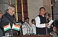 The President, Shri Pranab Mukherjee administering the oath as Minister of State to Shri Ninong Ering, at a Swearing-in Ceremony, at Rashtrapati Bhavan, in New Delhi on October 28, 2012.jpg