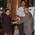 The President, Shri Pranab Mukherjee presenting the Arjuna Award to Ms. Saba Anjum for Hockey, at the National Sports & Adventure awards ceremony, at Rashtrapati Bhawan, in New Delhi on August 31, 2013.jpg