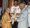The President, Shri Ram Nath Kovind presenting the Padma Bhushan Award to Prof. Ved Prakash Nanda, at the Civil Investiture Ceremony, at Rashtrapati Bhavan, in New Delhi on March 20, 2018.jpg