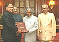 The President Dr. A.PJ. Abdul Kalam is being presented with the list of members elected to the 14th Lok Sabha (House of the people) by the Chief Election Commissioner Shri T. S. Krishnamurthy in New Delhi on May 17, 2004.jpg