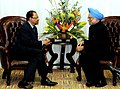 The Prime Minister, Dr. Manmohan Singh with the Prime Minister of Mauritius, Mr. Navin Chandra Ramgoolam, on the sidelines of CHOGM 2009, in Port of Spain on November 27, 2009.jpg