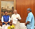 The Prime Minister, Shri Narendra Modi being presented a cheque worth approximately Rs. 1.9 crore by the Chief Minister of Goa, Shri Laxmikant Parsekar, towards the Prime Minister's National Relief Fund (PMNRF).jpg