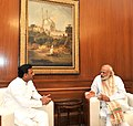 The Prime Minister, Shri Narendra Modi meeting the Chief Minister of Uttar Pradesh, Shri Akhilesh Yadav on the drought situation in various parts of Uttar Pradesh, in New Delhi on May 07, 2016.jpg