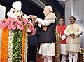 The Prime Minister, Shri Narendra Modi paying floral tributes to Pandit Madan Mohan Malaviya at the Banaras Hindu University, in Varanasi, Uttar Pradesh.jpg