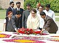 The Prime Minister of Bangladesh, Ms Khaleda Zia paying floral tributes at the Samadhi of Mahatma Gandhi at Rajghat in Delhi on March 21, 2006.jpg