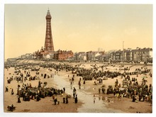 A postcard of Blackpool promenade.
