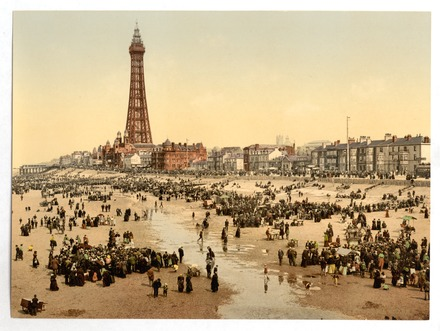 Crowded beaches at Blackpool in the 1890s The Promenade and Tower from South Pier, Blackpool, England-LCCN2002696387.tif