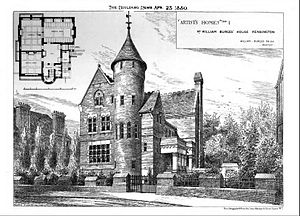 Lithograph showing the Tower House and floor plan