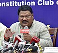 The Union Minister for Tribal Affairs, Shri Jual Oram addressing a press conference on the achievements of the Ministry of Tribal Affairs, during the last four years, in New Delhi on June 14, 2018.JPG