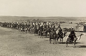 Raid on the Suez Canal - Ottoman camel corps at Beersheba, 1915