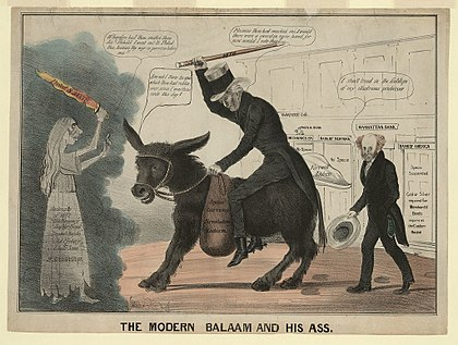 "1837 cartoon plays on ""Jackson"" and ""jackass"", showing the Democratic Party as a donkey, which remains its cartoon symbol into the 21st century The modern balaam and his ass.jpg"