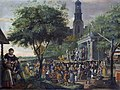 Theatrical performance in a village, by Matthijs Naiveu.jpg