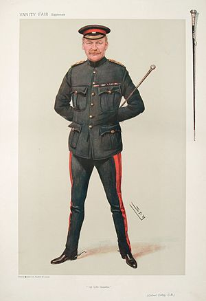 """Thomas Charles Pleydell Calley - """"1st Life Guards"""" Calley as caricatured by """"Spy"""" (Leslie Ward) in Vanity Fair, October 1906"""