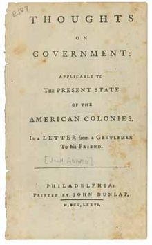 thoughts on government  the book thoughts on government by john adams 1776