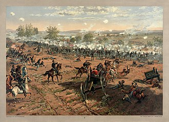 The Battle of Gettysburg, the turning point of the American Civil War Thure de Thulstrup - L. Prang and Co. - Battle of Gettysburg - Restoration by Adam Cuerden.jpg