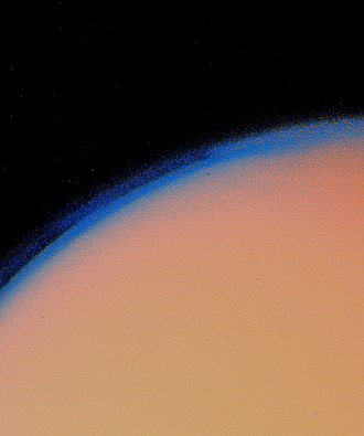 Grand Tour program - Image: Titan's thick haze layer picture from voyager 1