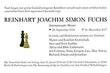 Todesanzeige Reinhart Joachim Simon Fuchs 2017