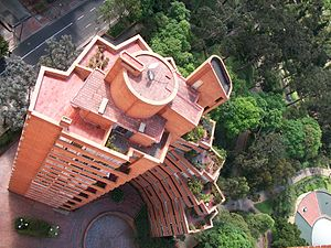 "Rogelio Salmona - One of the three Del Parque Towers (""Torres del Parque"") in Bogotá"