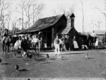 Townspeople gathered in front of a building at an unidentified Queensland town, 1880s (9610668785).jpg