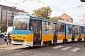Tram in Sofia near Russian monument 044.jpg