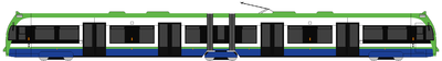 Diagrama de un tranvía Tramlink Flexity Swift