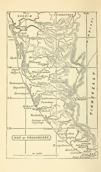Travancore - Map of Travancore in 1871