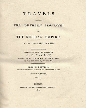Peter Simon Pallas - Title of the book Travels through the southern Provinces of the Russian Empire, in the years 1793 and 1794