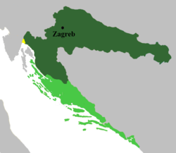 Official territory (dark green) and claimed territory (light green), legally Hungarian but administrated by both Croatia and Hungary (yellow)