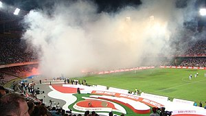 Birra Moretti Trophy - The stage of the awards ceremony at San Paolo in Naples during the 2007 edition.