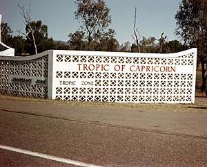 Tropic of Capricorn monument 'wall' at Rockham...