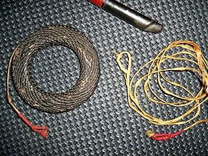 Bowstring - Japanese bowstring (tsuru) and woven bowstring holder (tsurumaki).