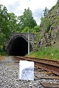 Tunnel 1 and postcard of it construction from my collection, Circum-Baikal Railway by trolleway, 2009 (32123471962).jpg