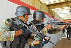 Two Commando soldiers of the MEFA provide security