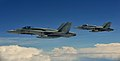 Two Royal Canadian Air Force CF-188 Hornets approach a Colombian A.F. KC-767 tanker during Exercise Maple Flag 2013.jpg
