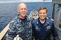 U.S. Navy Vice Adm. Scott H. Swift, left, the commander of the U.S. 7th Fleet, and Capt. Patrick Kelly, the commanding officer of the guided missile cruiser USS Chosin (CG 65), pose for a photo on the ship's 130528-N-GR655-168.jpg