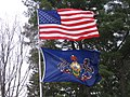 U.S. and Pa. Flags near Lock Lomond Pa. The blue colour on the U.S flag is from the St. Andrews flag on the original U.S. Grand Union flag in 1775.JPG