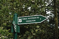 A National Trust signpost at Milldale, River D...