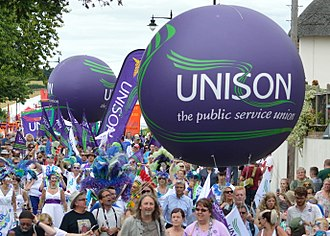 Unison (trade union) - Part of the UNISON contingent at the Tolpuddle Martyrs' Festival and Rally 2016