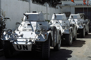 Ferret armoured car - Nepalese Army Ferrets parked outside a United Nations compound during UNOSOM II.