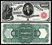 $1,000 Legal Tender note, Series 1880, Fr.187k, depicting DeWitt Clinton.