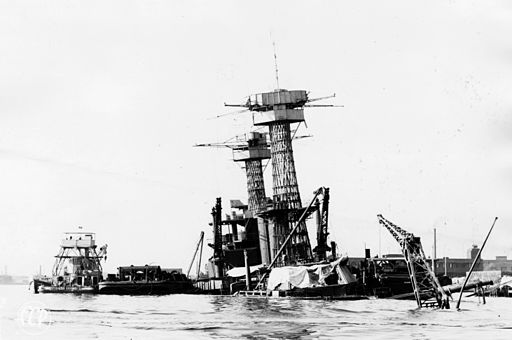 USS California (BB-44) during salvage at Pearl Harbor early 1942