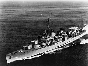 USS Cowell (DD-547) underway, circa in September 1951 (NH 99191)