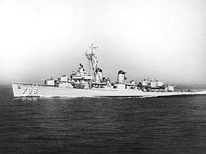 USS Monssen (DD-798) underway after she was recommissioned, in July 1953.